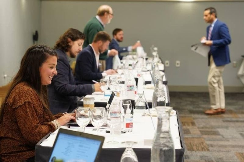 Sid Patel, CEO of Beverage Trade Network briefing judges at the 2021 Sommeliers Choice Awards