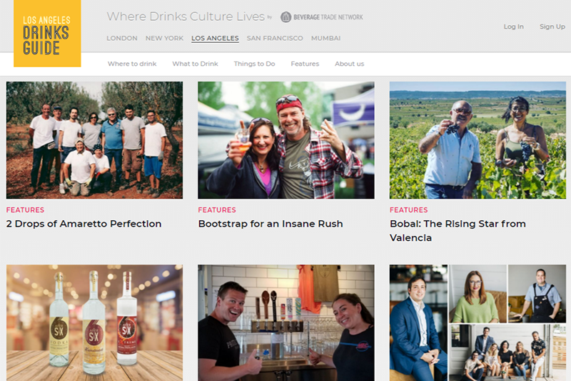 Brands stories on Los Angeles Drinks Guide website