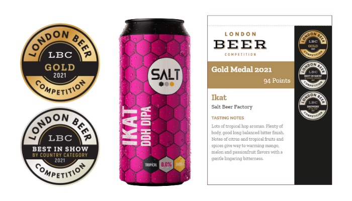 Ikat, double IPA made by the Salt Beer Factory, United Kingdom