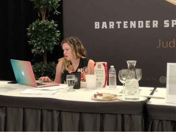 Jessica Schjavland at the judging event of 2021 Bartender Spirits Awards