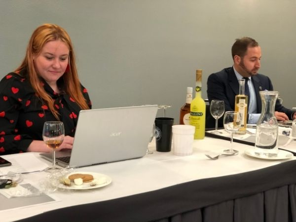 Nicky Beyries and Zachary Faden at the judging event of 2021 Bartender Spirits Awards
